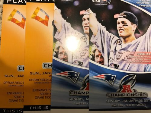 2 New England Patriots Tickets vs. Pittsburgh Steelers 01/22/17 Optum Lounge