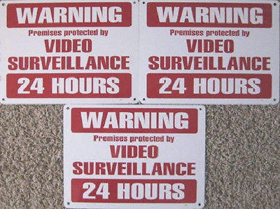 CCTV Security Warning Surveillance Metal 3 Signs Camera Deter Fight Crime Video