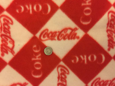 Coca Cola Red and White Very Soft Fleece Fabric 28