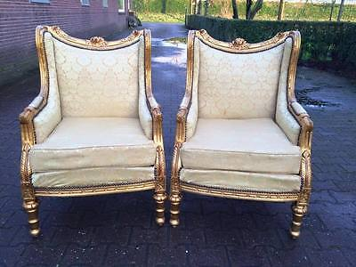 ANTIQUE SET OF TWO UNIQUE CHAIRS IN FRENCH LOUIS XVI STYLE