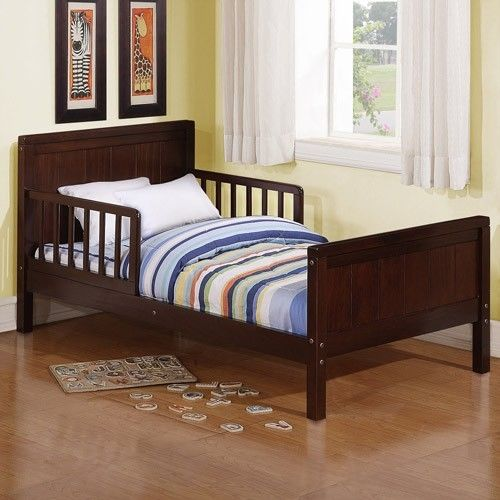 Cherry Bed For Boys Toddler Kids Frame Wood Twin Size Guard Rails Modern Bedroom