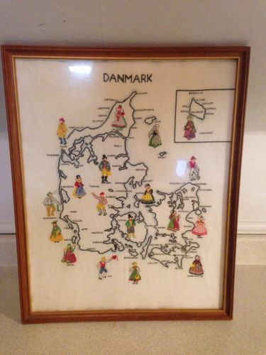 Antique / Vintage Hand Made Cross Stitch Of Denmark, 21