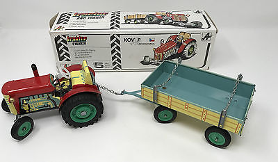 Vintage Kovap Zero Tractor & Trailer Tin Litho Wind Up  Toy Boxed VGC *1