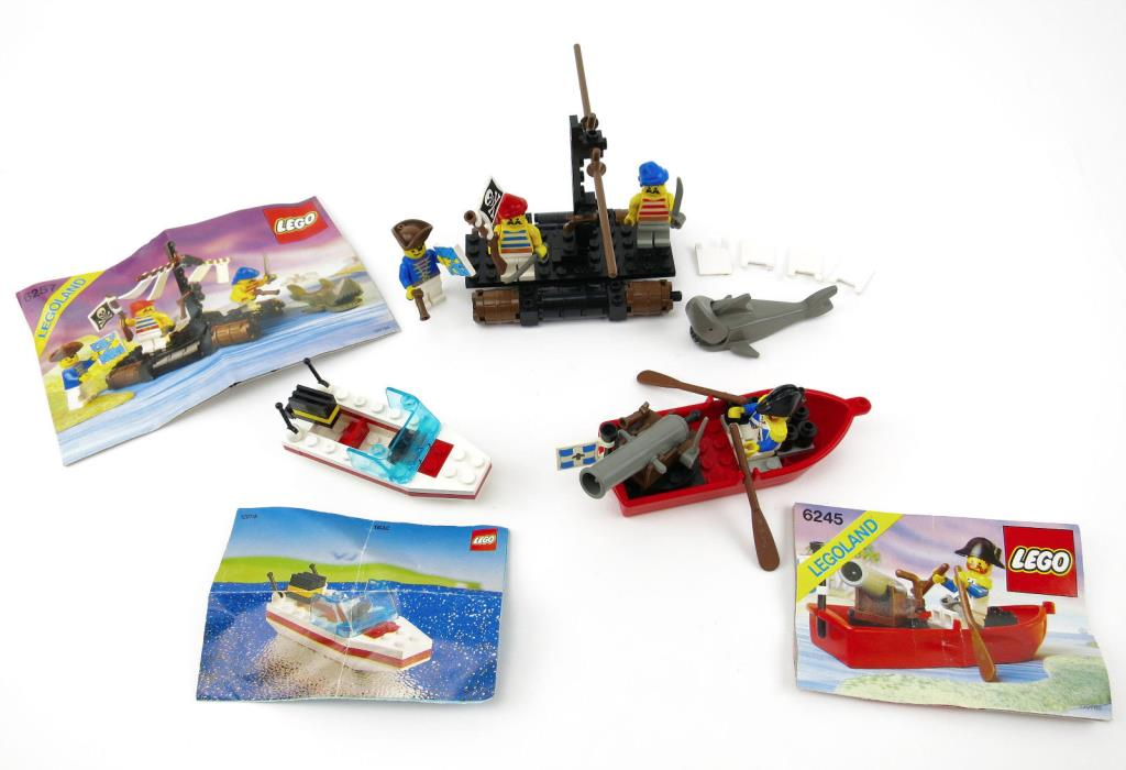Lego Vintage Pirate & Boat Set 6257 6245 & 1632 W/ Instructions 1980's Toy Lot