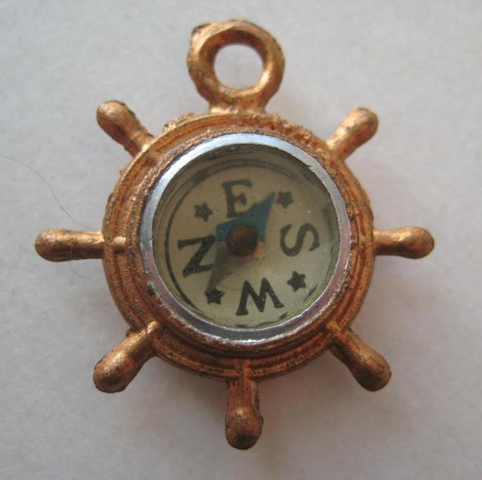 VINTAGE Metal Glass SHIP'S WHEEL COMPASS Novelty Charm Japan