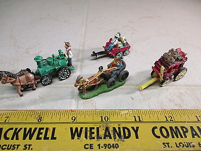 VTG IRL Lead Pewter Painted Miniature Figurines Farm Steam Tractor Covered Wagon