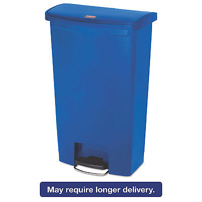 Rubbermaid Slim Jim Resin Step-On Container Front Step Style 18 gal Blue 1883595