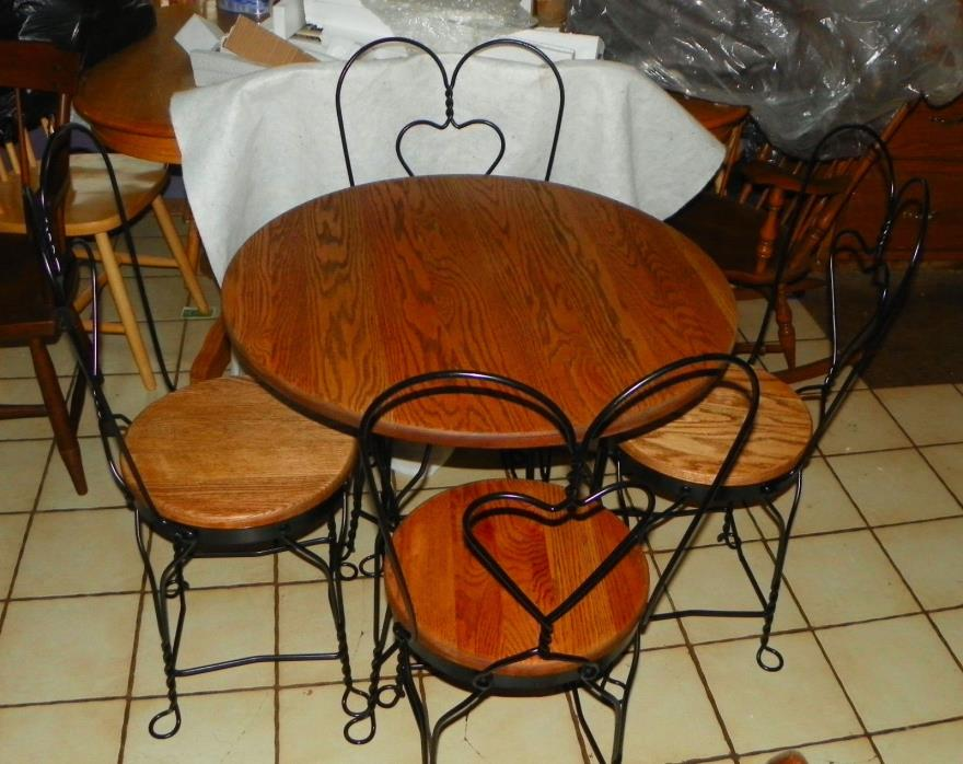 Solid Oak & Iron Ice Cream Parlor Table & Chairs  (DC13)