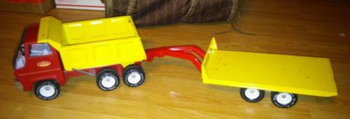 Tonka Red n yellow dump truck with trailer custom
