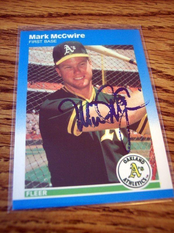 Mark McGwire Signed Oakland Athletics 1987 Fleer ROOKIE U-76 Baseball Card Auto