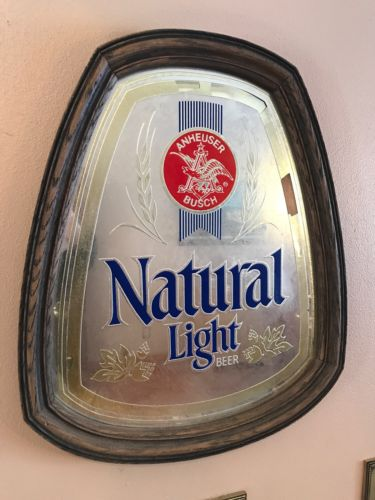 VINTAGE NATURAL LIGHT BEER MIRROR BAR SIGN WOOD FRAME ANHEUSER BUSCH BUD