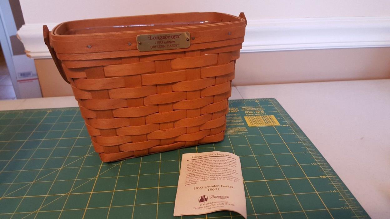 Longaberger Basket with plastic liner - 1993 Dresden basket edition