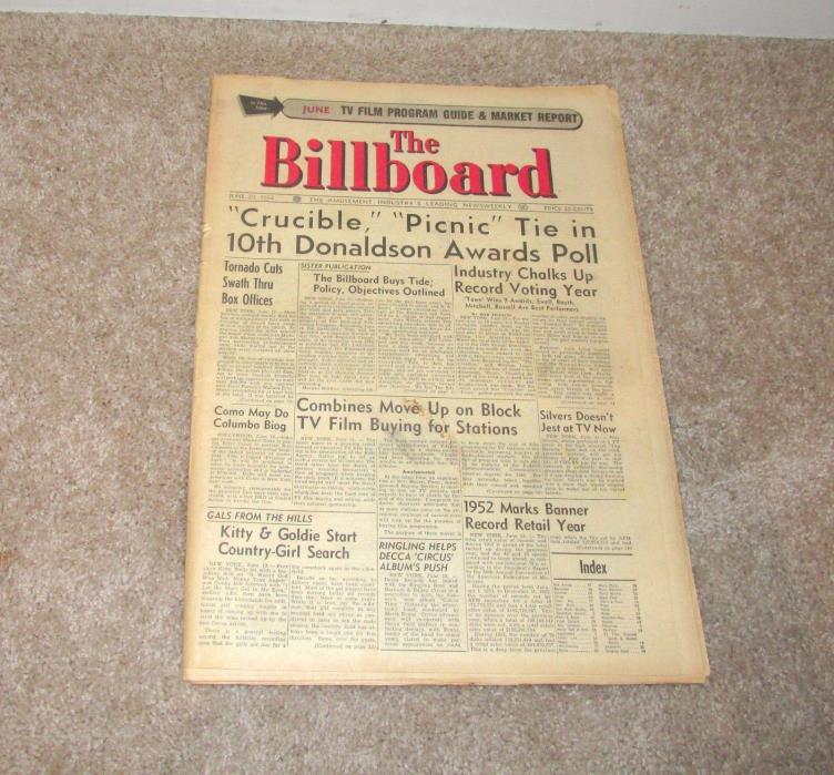 JUNE 20 1953 BILLBOARD MAGAZINE SEEBURG M100C JUKEBOX PINBALL ARCADE COIN-OP