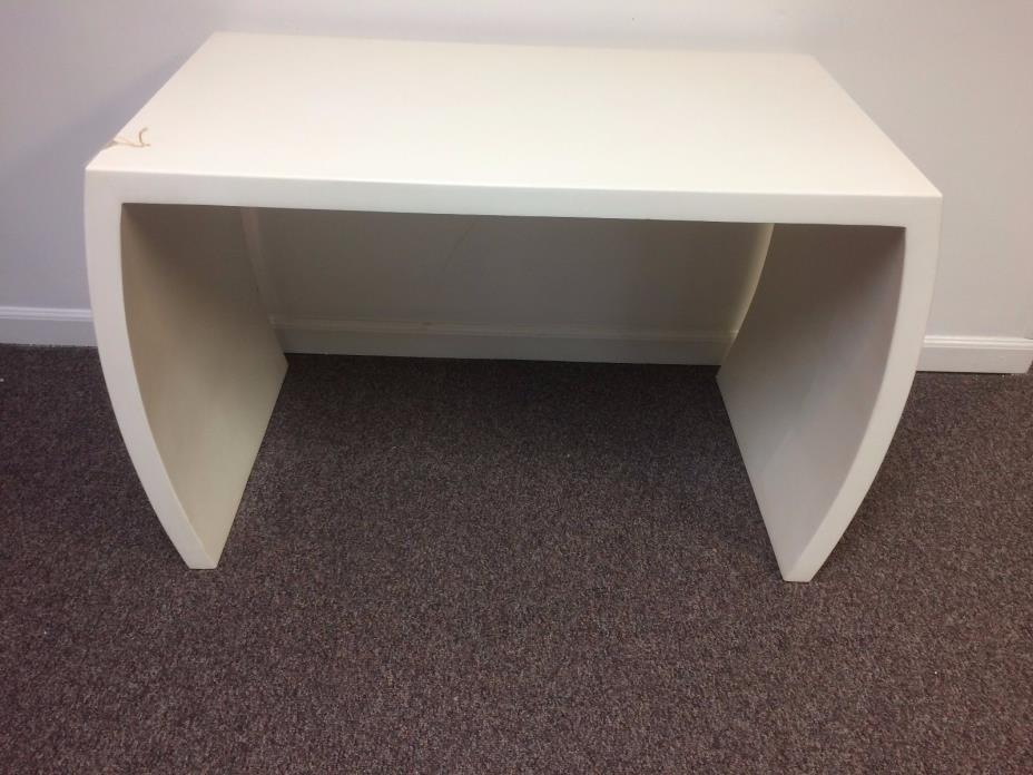 Mid Century White Lacquered Parsons Sofa Console Table