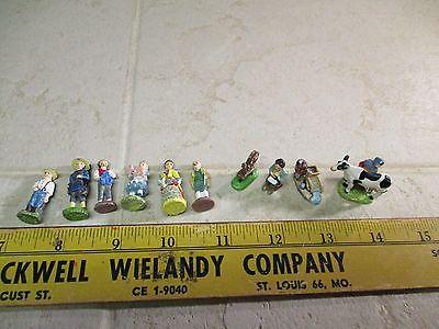 VTG IRL Lead Pewter Painted Miniature Figurines Boy Girl w/Pig Milk Maid Wheel
