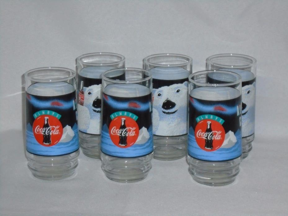 Coca-Cola Always Cool Polar Bear Set of 6 Drinking Glasses Coke Collectibles