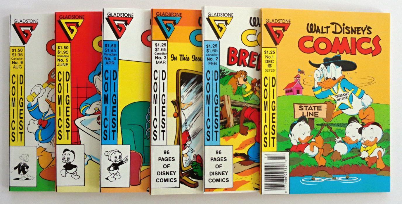 Gladstone Comics: Walt Disney Comics Digests #s 1-6 (NM-NM+)