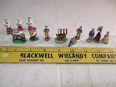 VTG IRL Lead Pewter Painted Miniature Figurines Burro Victorian Man Woman Choir