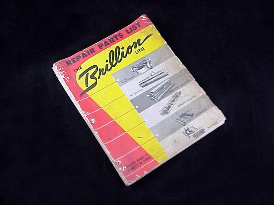 1950s BRILLION Line Repair Parts Catalogs 14+ Pulverizers Shredders Seeders more