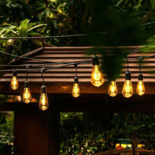 Edison Light Bulb Set All Weather LED 48ft 24 Bulbs Black/Gold String Light New