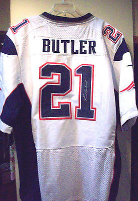RARE NEW #21 MALCOLM BUTLER SIGNED / AUTOGRAPHED N E PATRIOTS JERSEY SIZE 5XL 60