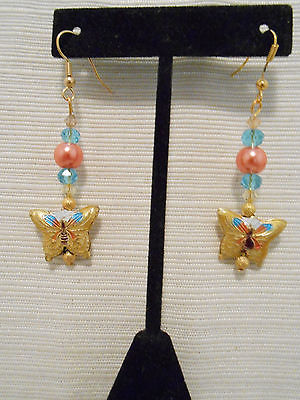 Handmade earrings with yellow butterfly cloisonne beads