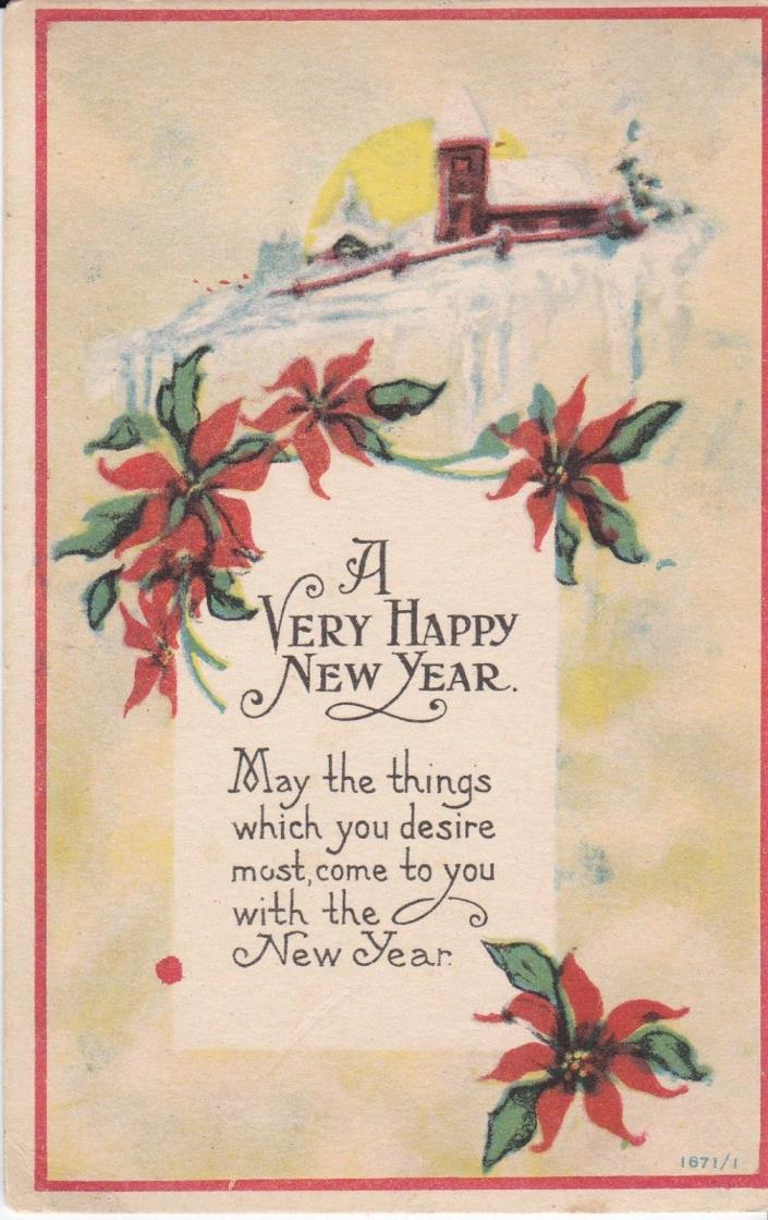 Antique Original Happy New Year  by Bergman Holiday Postcard