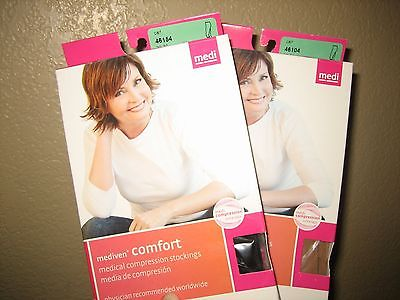 Lot-Mediven Comfort Compression Stockings 20-30 IV Ebony/Natural Closed-Toe Calf