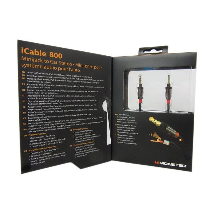 Monster Mbl Ai 800 Minijack To Car Stereo Cable Kit