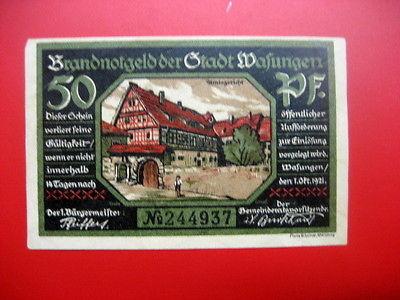German Notgeld 1921 50 pfennig Stadt of Wafungen