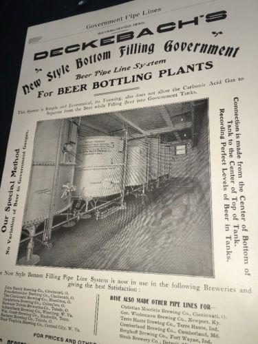 Deckebach Cincinnati Beer Ad 1908 Brewery Equipment Hauck Moerlein &