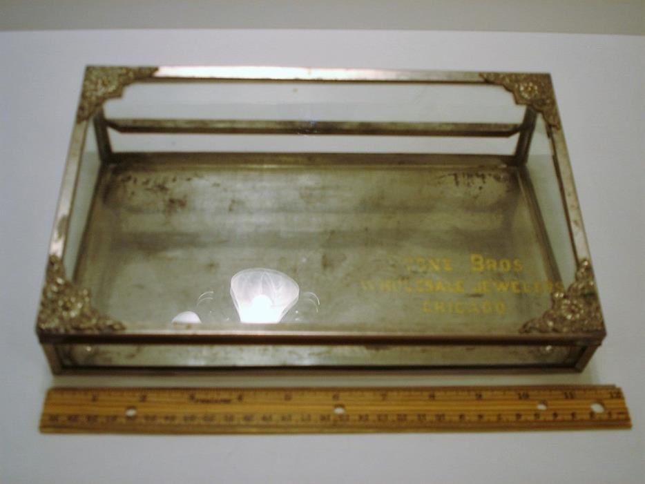 Vintage Glass Showcase Countertop Store Display Stone Bros. Jewelers Chicago IL