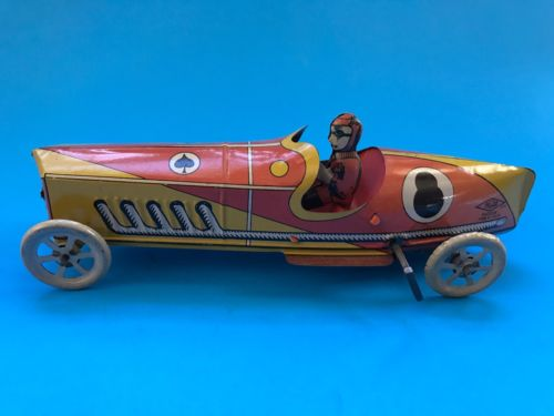 Tin Penny Toy Race Car/Driver. Made By INGAP. Italy. 1920s. Windup Works.