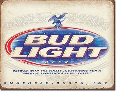 Bud Light Retro Anheuser Busch  Budweiser Advertising Wall Decor Metal Tin Sign
