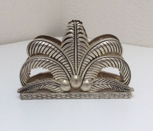 Godinger Silver Plate Napkin/letter Holder Hollywood Regency Palm Leaves Coconut