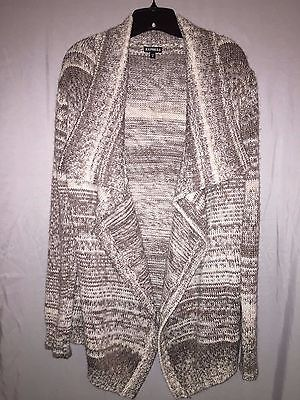 EXPRESS WOMENS BEIGE AND WHITE KNIT OPEN FRONT SWEATER! SIZE LARGE!