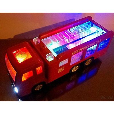 Play Vehicles WolVol Electric Fire Truck Toy with Stunning 3D Lights and Sirens