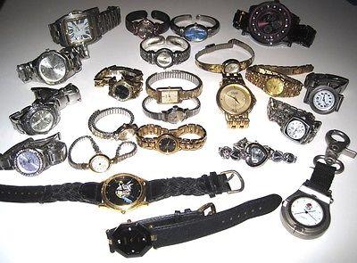 Watch Lot 23 Untested Fossil Gruen Timex Citizen + Repair Parts Steampunk Crafts