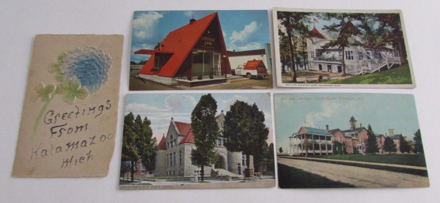 Kalamazoo Michigan Postcards Oakwood Park Pavilion Asylum Chicken Coop etc