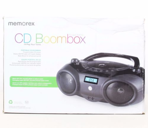 Memorex MP3851BLK Portable Sport Boombox CD Player AM/FM Radio & Aux Input
