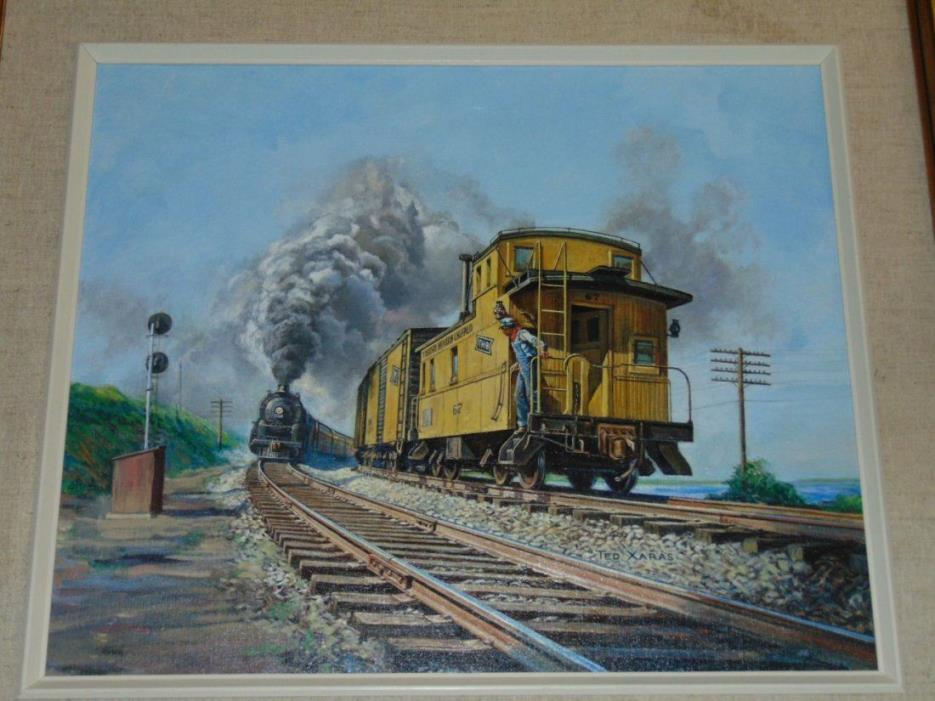 ORIGINAL Signed Ted Xaras Train Oil ,On CANVAS