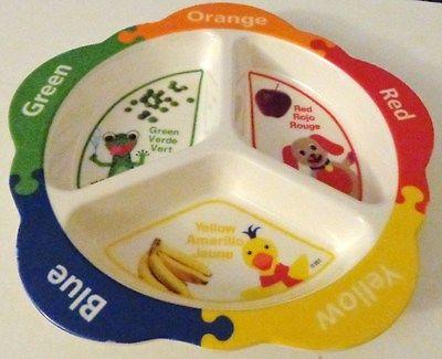 Baby Einstein Playtex 3 Divided Peas, Banana Green Yellow, Red  Melamine Bowl 8