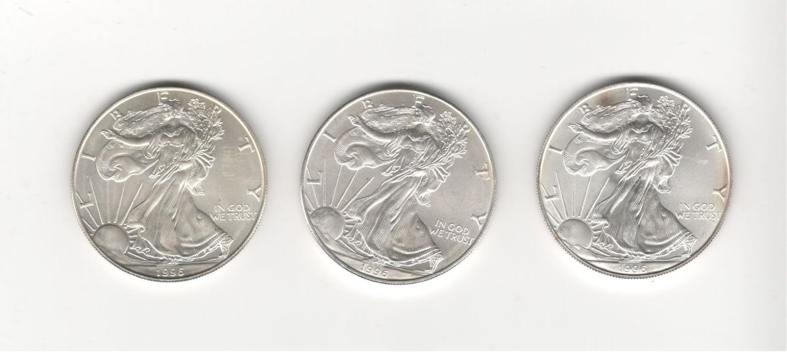 Qty. 3 - 1996 American Silver Eagles - Uncirculated