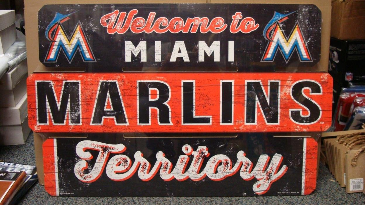 MIAMI MARLINS WELCOME TO MARLINS TERRITORY WOOD SIGN 19