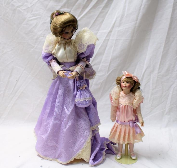 FRANKLIN MINT HEIRLOOM GIBSON GIRLS MOTHER AND DAUGHTER PROMENADE DOLLS