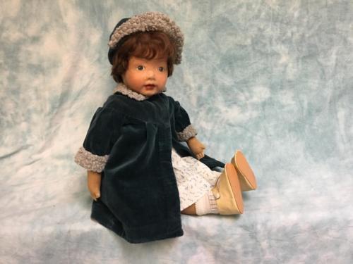18.5 inch Kamkins cloth doll Atlantic City NJ 1920s Original mohair wig Dressed