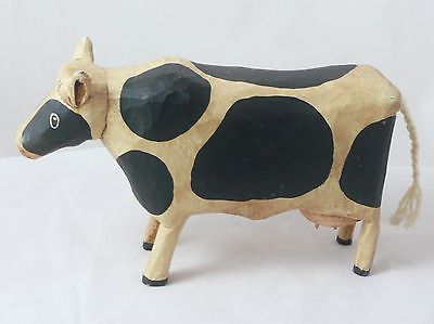 Hand Carved Wooden Cow Figure