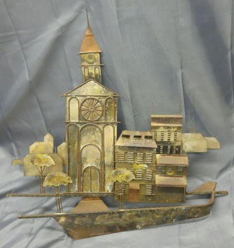 Old vintage brass copper metal art wall sculpture church clock tower