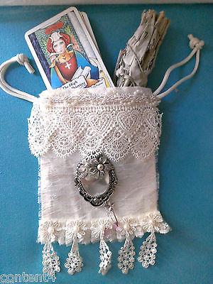 Ivory cloth drawstring & lace bag w/charms keepsake cottage wedding gift