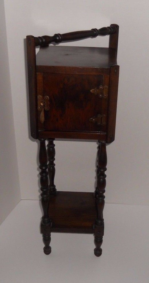 Vintage Antique Mid Century Wood Smoking Stand Sewing Side Table Cabinet Shelf
